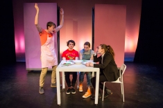 From left to right: Chris Bennet ('17), Logan Fish ('19), Izabella Louk ('20), and Juliet O'Connor ('19) in Hannah Ponturo's ('19) play Boys Rule